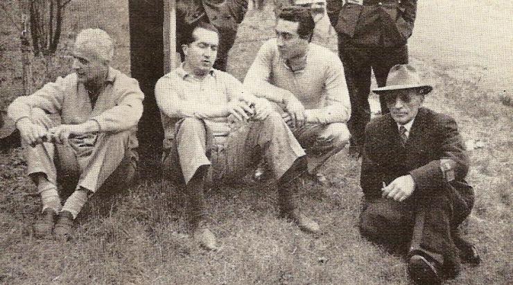 Vittorio Jano on far right with Luigi Villoresi, Alberto Ascari and Eugenio Castellotti