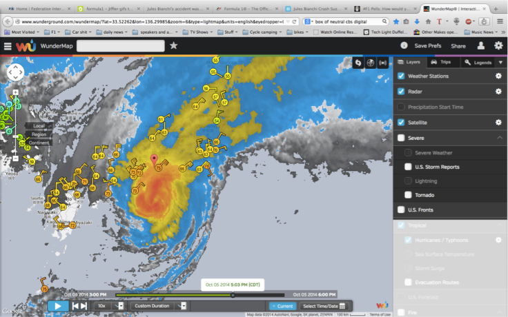 Satellite weather 5:00 PM Local time. The eye of the storm appears to be collapsing, though Suzuka is still under the orange conditions of the Typhoon