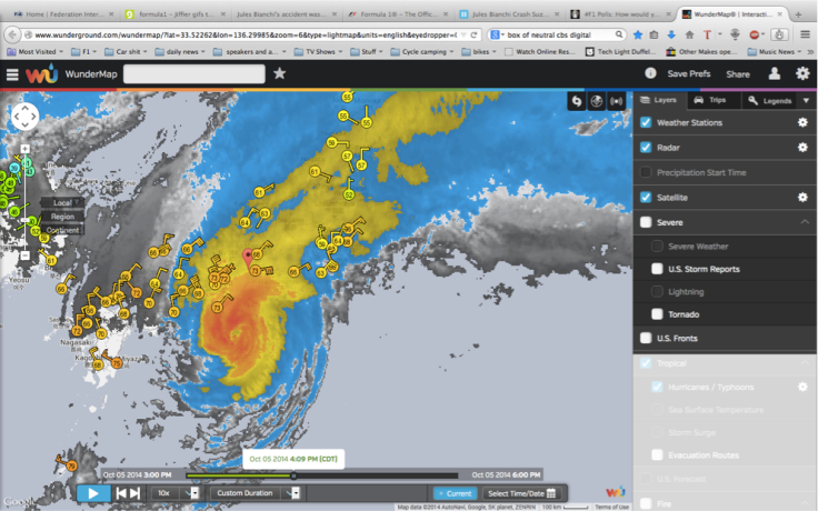 Japan Overlaid by the storm 4pm