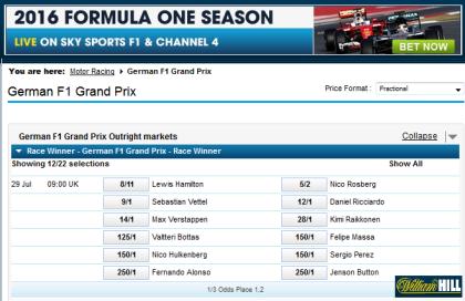 F1 Championship betting at William Hill