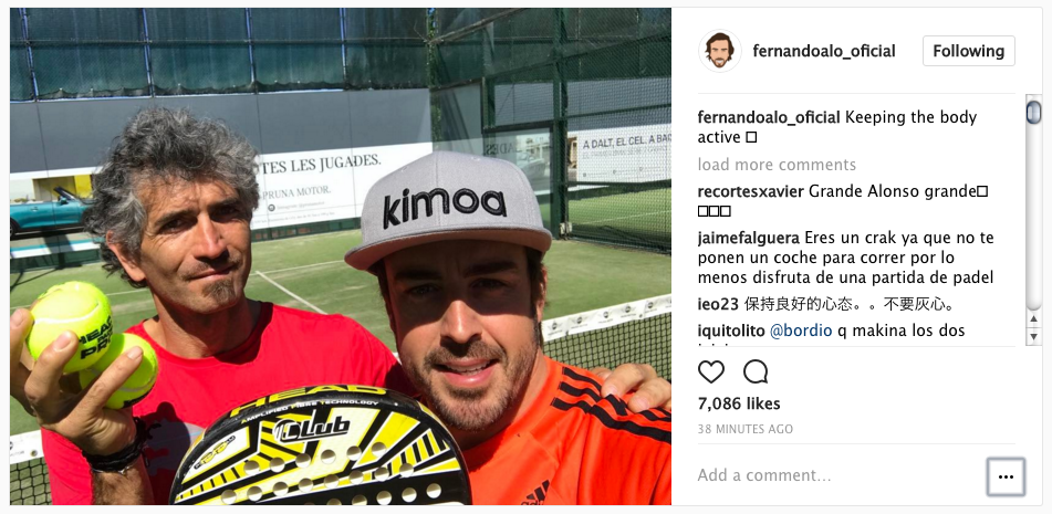 Alonso leaves the circuit for Tennis after Honda failure